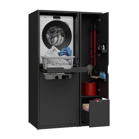 Creavit - Creavit Çamaşır Makinesi ve Kurutma Makinesi ile Paspas Dolabı Antrasit
