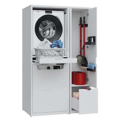 Creavit - Creavit Çamaşır Makinesi ve Kurutma Makinesi ile Paspas Dolabı Beyaz