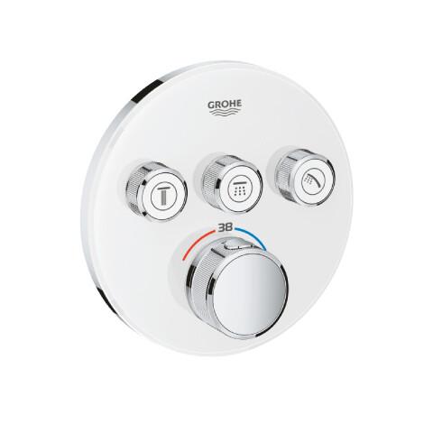 Grohe - GROHE Grohtherm SmartControl Ankastre Termostatik Duş Bataryası Yuvarlak Ay Beyazı
