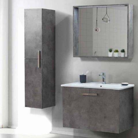 Martat - Martat Banyo Dark 85 cm Banyo Mobilyası Takımı