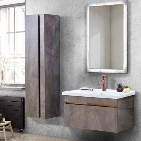 Martat - Martat Banyo Marble 80 cm Banyo Mobilyası Takımı